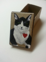 hand painted gift box, tuxedo cat
