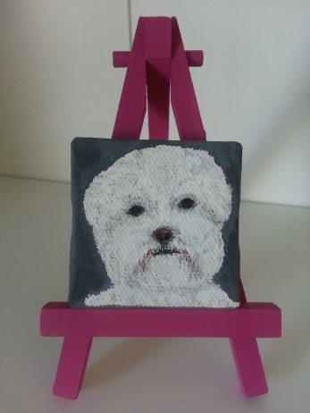 Bichon Frise on canvas, Stephanie Macera