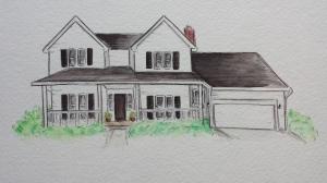 Watercolor house portrait, Stephanie Macera, Loving Color