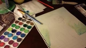 Stephanie Macera, Piglet sketch and watercolor
