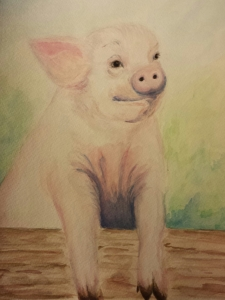 Stephanie Macera, Piglet watercolor painting