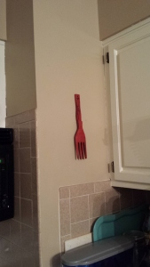 Red wooden fork, Anita's Acrylic paint