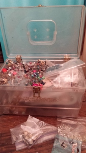 S Macera Junk Jewelry container clear, vintage sewing box