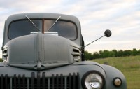 1947 Ford Truck Close up of hood and grill with mirror