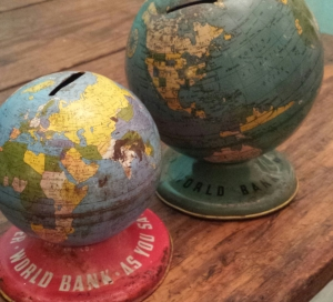 miniature bank globes, vintage, Stephanie Macera