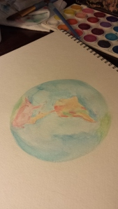 globevwatercolor in progress, Stephanie Macera