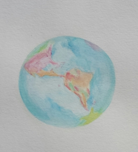globe watercolor painting in progress, Stephanie Macera