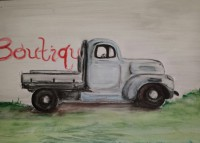 Water color, colored pencil painting 1947 truck in profile, S. Macera