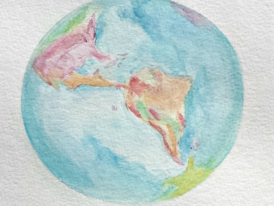 """Thinking of you"" World globe watercolor painting by S. Macera. Lovingcolor.net"