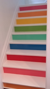colorful staircase, bright hues