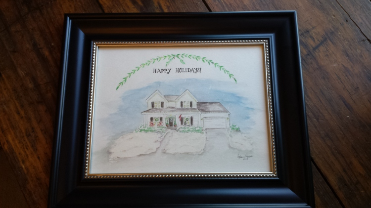 Framed watercolor holiday house portrait, S. Macera, Lovingcolor.net