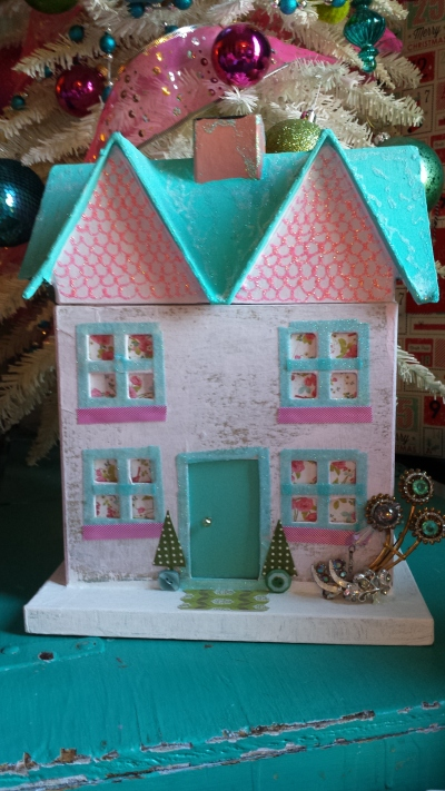 Pink and aqua painted paper house, S. Macera. www.lovingcolor.net