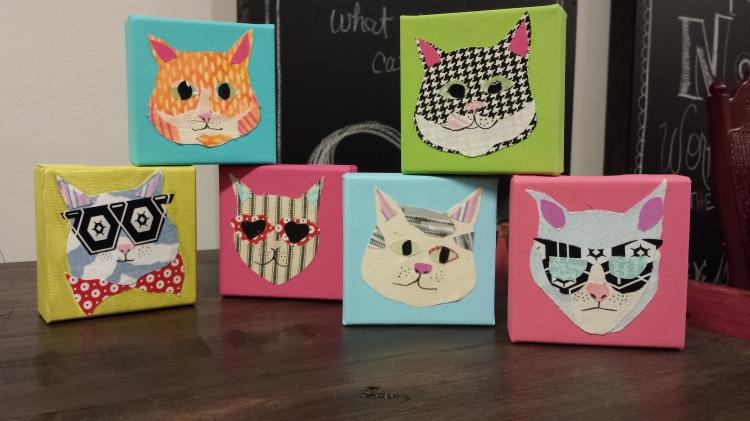Cat scrap fever: using scrap fabric and paint to create cat art. Www.lovingcolor.net. Stephanie Macera