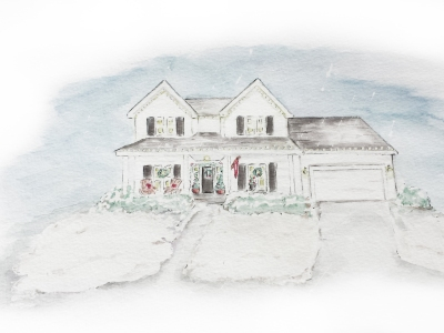 Watercolor house portrait, Christmas. S. Macera, Lovingcolor.net
