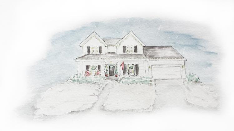 Watercolor house portrait, Christmas. S. Macera, Lovingcolor.net
