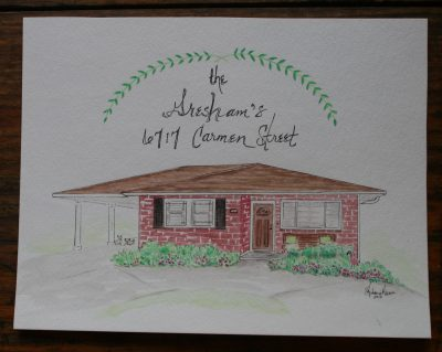 Brick one story house watercolor painting