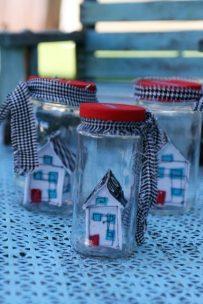 Fabric houses in jars, www.lovingcolor.net