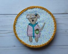 Fabric art, Chihuahua dog in clothes, fabric applique, S. Macera