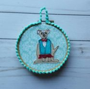 Fabric art, dog in clothes, applique, S. Macera